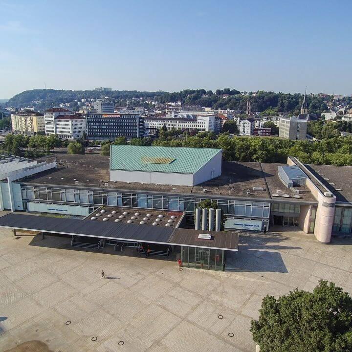 Congresshalle Saarbruecken Luftaufnahme quadratisch copyright Fotolutz